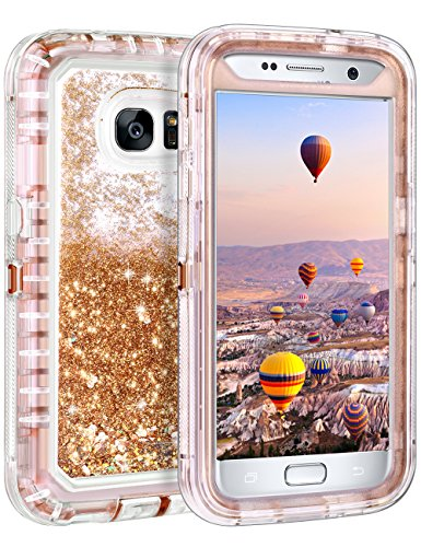Samsung Galaxy S7 Case, Coolden Luxury Floating Glitter Case Sparkle Bling Quicksand Liquid Cover Clear Shockproof Bumper Dual Layer Anti-Drop PC Frame + TPU Back for Samsung Galaxy S7 (Light Coffee)