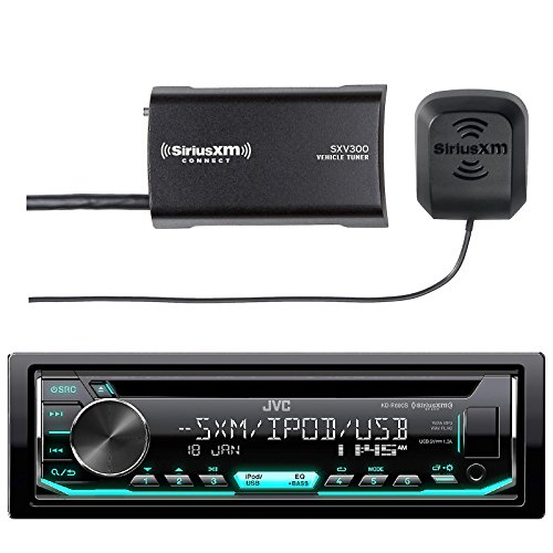JVC KDR680S Car CD Player Receiver USB AUX Radio - Bundle Combo With SiriusXM SXV300v1 Satellite Radio Connect Vehicle Tuner (Plate Stereo Tube)