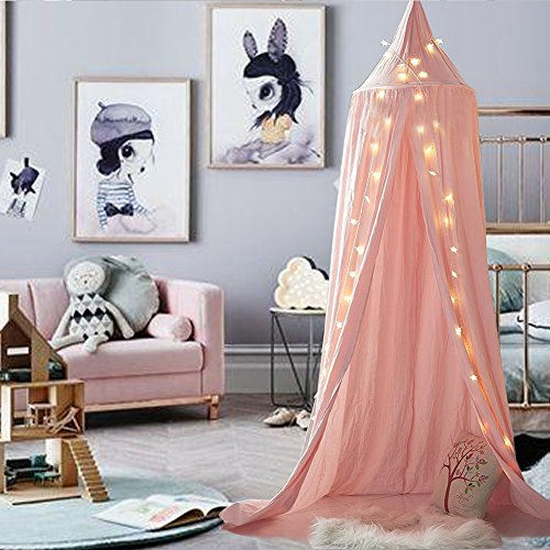Girls Canopy (M&M Mymoon Girls Bed Canopy Reading Nook Tent Dome Mosquito Net Hanging Decoration Indoor Game House for Baby Kids (Pink))