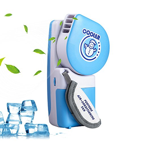 (LUCKSTAR Handheld Cooler Fan, Small Fan Mini Air Conditioner Speed Adjustable Portable Cooler Fan With Water Bottle Powered by Batteries or USB Cable for Home / Office / Travel / Outdoor (Blue))