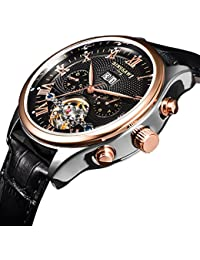 Men Automatic Mechanical Tourbillon Watch Brand Leather Gold Fashion Casual Stainless Steel Sports Wrist Watches...