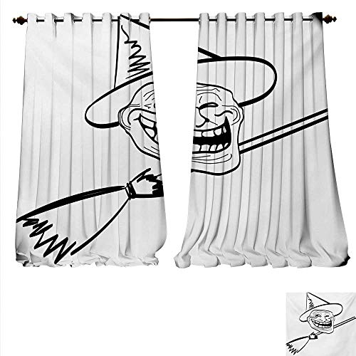 familytaste Customized Curtains Halloween Spirit Themed Witch Guy Meme LOL Joy Spooky Avatar Artful Image Print Room Darkening Wide Curtains W120 x L96 Black and White.jpg ()