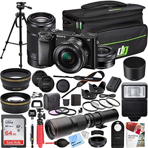 (Sony Alpha a6000 Mirrorless Digital Camera with 16-50mm & 55-210mm Lens (Black) ILCE-6000Y/B and 500mm Preset f/8 Telephoto Lens + 0.43x Wide Angle, 2.2X Pro Bundle)