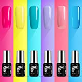Modelones Gel Nail Polish Set - UV LED Soak Off Gel Polish Kit,0.25OZ 7ML of 6 Colors Candy Summer Series Nail Art Gift Box