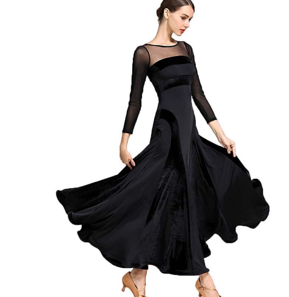 Red L ZYLL Women Modern Waltz Tango Dancing Clothes Modern Dance Dress National Standard Dress Women's Ballroom Dance Competition Dress