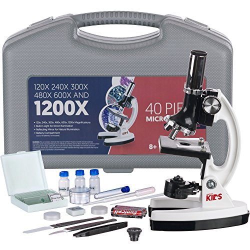 AmScope-KIDS M30-ABS-KT1-W 120X-240X-300X-480X-600X-1200X 48pc Metal Arm & Base Educational Kids Biological Microscope Kit