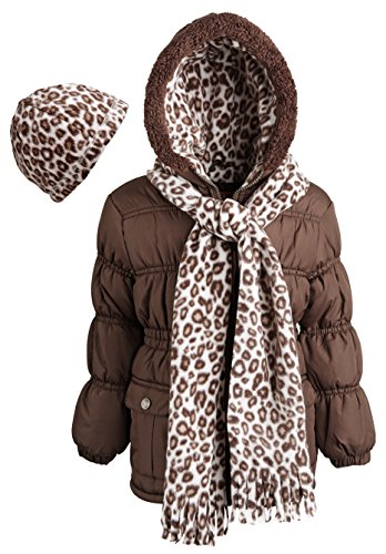 Pink Platinum Little Girls'puffer Coat With Faux Fur Trim and Matching Hat and Scarf, Brown, (Cheetah Snowboard Jacket)