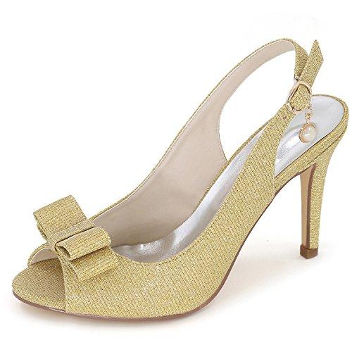 Raso Plateau in 9 Donna Sposa Yellow Elobaby Toe da per Backspace DéColleté con Heel Toe Size Scarpe 42 Peep 35 w8Bvqg