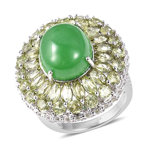 Cocktail Ring 925 Sterling Silver Green Jade Peridot Jewelry for Women Size 9
