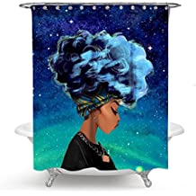 """QCWN Afro Sexy Lady Shower Curtain Beautiful Girl Art Watercolor Woman Portrait Picture Print Waterproof Mildew Resistant Fabric Polyester Shower Curtain with Free Hooks (2, 70""""x70"""")"""