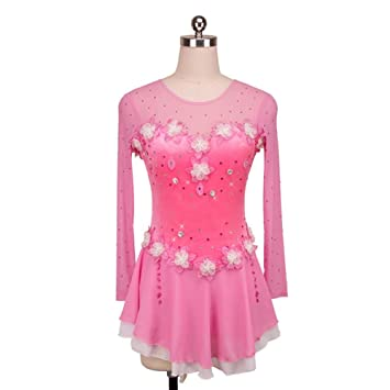Heart&M Vestido de Patinaje Sobre Hielo de niña Concurso de bocetos Vestido de Fiesta Flor Blanca