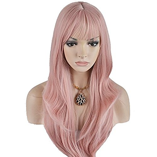 BERON Long Wavy Soft Synthetic Wig with Straight Bangs for Women Girls Wig Cap Included (Chisato Pink)]()