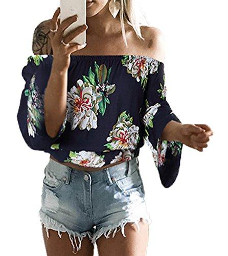 Longues Haut t Tops Blouses Shirt Short Crop Onlyoustyle Fashion Bleu fonc Chemisiers Chemisiers Manches Femme Impression Shirt Bustier T Sexy Mousseline wAqFxZ