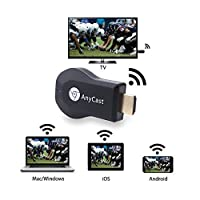 Rewy Anycast for TV WiFi 1080p FHD Hdmi Dongle Stick Miracast Airplay DLNA Compatible with All Android and iOS Devices - Black