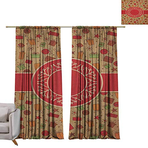 berrly Blackout Window Curtain Panel Christmas,Celebration Card Inspired Vintage Old Design Presents Baubles and Snowflakes, Multicolor W108 x L84 Tie Up Shades Rod Blackout Curtains ()