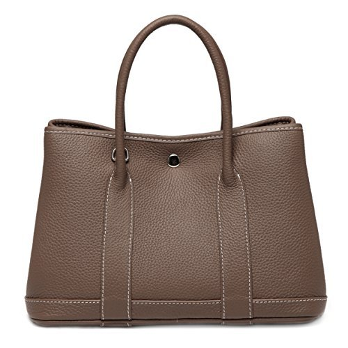 Macton Genuine leather cowskin garden bag Women shoulder Bag MC-9016 (32CM, Grey)