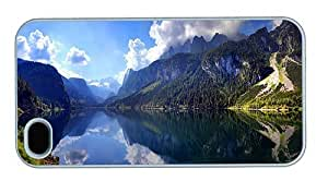 Hipster durable iPhone 4 cover austrian mountain lake scenery PC White for Apple iPhone 4/4S