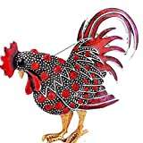 MOONQING Rooster Chicken Brooch Creative Colorful Rhinestone Brooch Animal Brooch Zodiac Animal Brooch,red