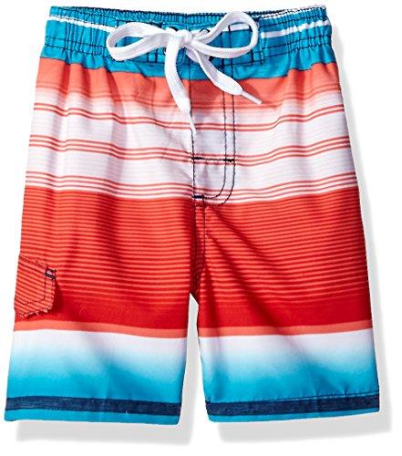 Kanu Surf Boys' Little Victor Stripe Quick Dry Beach Board Shorts Swim Trunk, Navy/red, Medium (5/6) ()