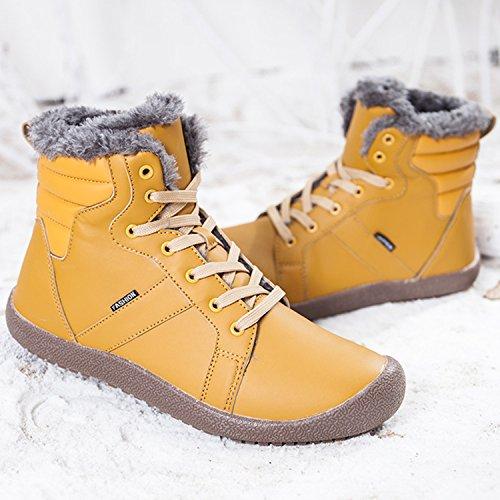 Fur Yellow Shoes Women's Short Winter Snow Waterproof JIASUQI Boots Ankle qgwtCxwpv