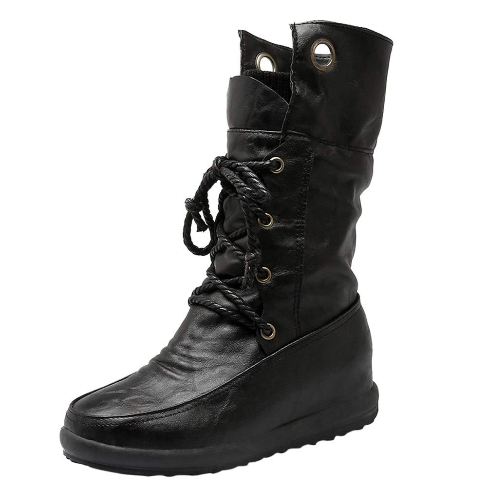 Seaintheson High Boots for Women Womens Warm Round Toe Lace up Combat Booties Casual Cross-Straps Plush Shoes