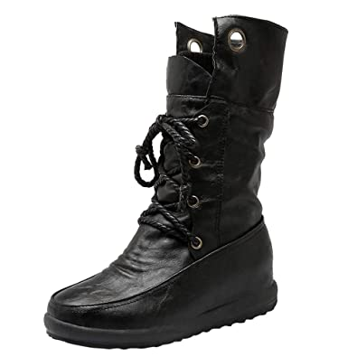 883814956cc HLHN Women Military Combat Boots Mid-Calf Roman Lace-Up Leather Flat Martin  Shoes