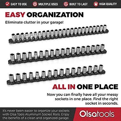 Olsa Tools 3 Pc Set Aluminum Socket Organizer with Locking End Caps | 1/4-Inch Drive x 24 Clips, 3/8-Inch Drive x 18 Clips, 1/2-Inch Drive x 16 Clips | Premium Quality Socket Holder (Black): Automotive