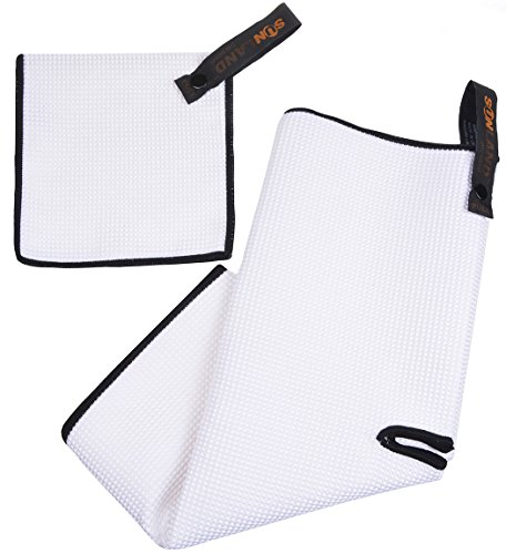 (SUNLAND Microfiber Deep Waffle Weave Golf Towels with Free Golf Balls Towel(16
