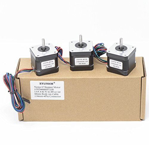 Zyltech 3 Pack Nema 17 Stepper Motors 1.5 A 0.42 Nm 59 oz.in 40mm Body w/ 1m Cable & Connector for 3D Printer/CNC by Zyltech