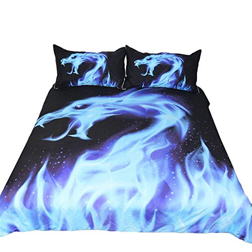 Dragon Bed Set - YEVEM Boys Twin Blue Dragon Flame Print Duvet Cover Set Kids Teens 3 Piece Bedding Set Gifts, (1 Duvet Cover+2 Pillowcases) (Twin, Style 5)