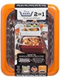 Fancy Panz FP21006 2 in 1 Portable Casserole Carrier for Indoor and Outdoor Use, Fits Shallow or Deep, Bonus Serving Spoon and Foil Pan Included, 13 x 11 x 3.5 inches, Orange