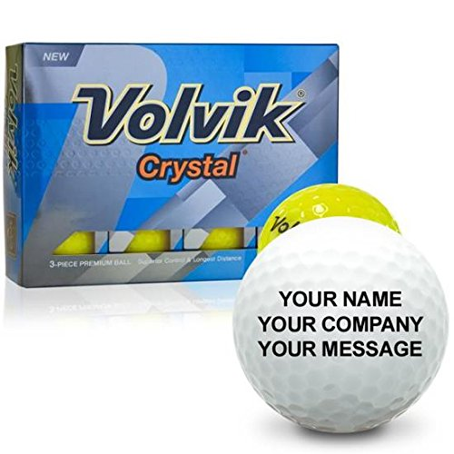 Personalized Crystal Golf Balls - Volvik Crystal Yellow Personalized Golf Balls