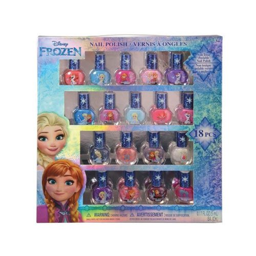 Disney FZ0655SA Frozen Best Peel-Off Nail Polish Deluxe Gift Set for Kids 18 Colors