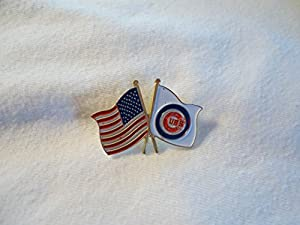 Vintage Chicago Cubs Baseball American Flag Enamel Hat Lapel Pin