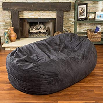Christopher Knight Home 294973 David Faux Suede 8 Feet Lounger Bean Bag Black