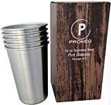 PROKEG - (5) Stainless Steel Pint Glasses/Cups - PACK OF 5-16oz Single Wall PREMIUM 18/8 Stackable Pint Glasses/Cups Great with Steel Canteen for Camping or Kid Tumbler