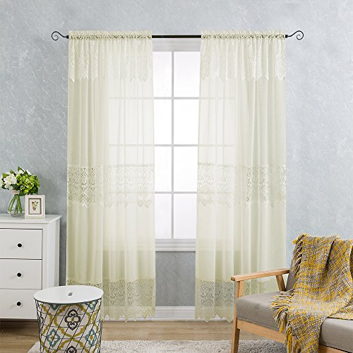 2 Panels Lace Curtain Panels with Valance Mix and Match Tulle Curtain Scalloped Floral Window Drapes for Bedroom (Pack of 2, 52