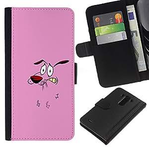 KLONGSHOP // Tirón de la caja Cartera de cuero con ranuras para tarjetas - Animación de Personajes perro Historieta rosada Cara - LG G3 //