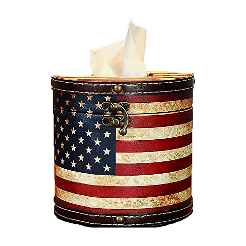 Ins Creative Cylinder Flag Pattern Flower Floral Paper Facial Tissue Box Cover Organizer Holder for Car Bathroom Vanity Countertops Bedroom Dressers Night Stands Desks and Tables - American Flag