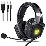 Gaming Headset Xbox One, Fuleadture RGB PS4 Gaming Headset with Mic, Noise Cancelling Over Ear Headphones with Stereo Surround Sound, LED Light, Soft Memory Earmuffs for Nintendo Switch PC Laptop
