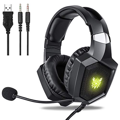 Gaming Headset Xbox One, Fuleadture RGB PS4 Gaming Headset with Mic, Noise Cancelling Over Ear Headphones with Stereo Surround Sound, LED Light, Soft Memory Earmuffs for PC Laptop Switch Game