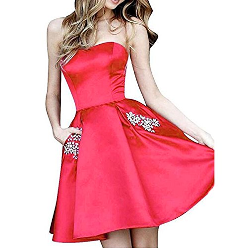 Beaded Cocktail Gown - TTYbridal Strapless Beaded Homecoming Dresses Short Satin Cocktail Prom Gown with Pockets 6 Red