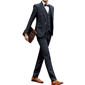 [chorbmark] (M, ダークグレー(柄))セットアップ スーツ スリーピース スリムタイプ ジャケット ベスト スラックス 無地 ストライプ 柄 チェック おおきいサイズ ab6 ab8 a8 bb5 bb6 bb8 y体 結婚式 成人式