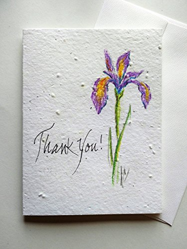 Original hand painted iris on a plantable greeting card w/ greeting (Hand Painted Iris)