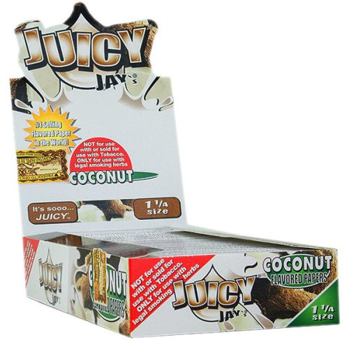 Coconut Paper - JUICY JAY'S FLAVORED PAPERS 32 LEAVES 1 1/4 COCONUT FLAVOR PACK OF 24