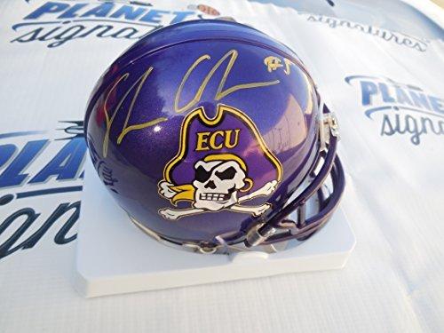 Shane Carden Signed East Carolina ECU Pirates Mini Helmet COA Pirates Riddell Mini