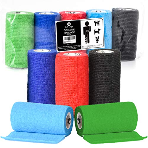 Bodhi & Digby Self Adhesive Bandage Wrap 5 Rolls 4in X 15ft in 5 Colours Self Adherent Wrap for Dogs and Vet Wrap for Horses. FDA Approved Self Adhesive Bandage
