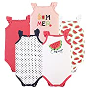 Hudson Baby Baby Sleeveless Bodysuits, 5 Pack, Watermelon, 0-3 Months