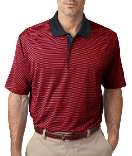 adidas A119 Mens ClimaLite Classic Stripe Polo - Black & University Red, 3XL (Shirt Classic Polo Adidas)