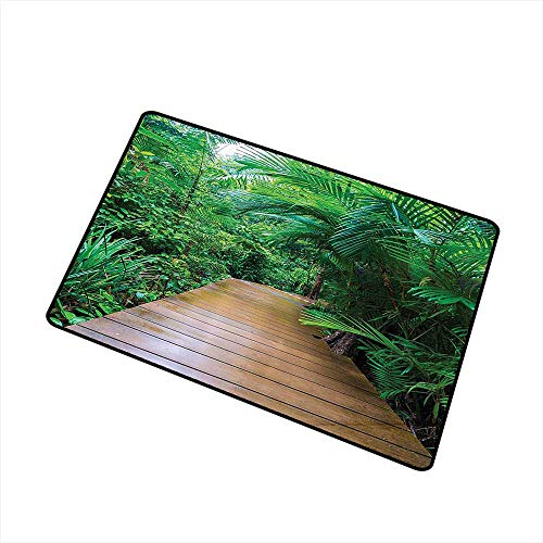(Axbkl Stylish Commercial Grade Entry pad House Decor Deck Timber Jetty Exotic Getaway Wilderness Footpath Tropic Plants Rainforest W31 xL47 Non-Slip Backing)